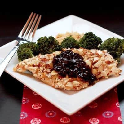 Almond Chicken with Cherry Balsamic Sauce 4