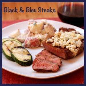 Black & Bleu Steaks with caption