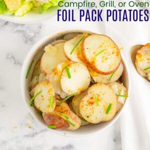 Campfire Grill or Oven Foil Pack Potatoes Recipe Image with title