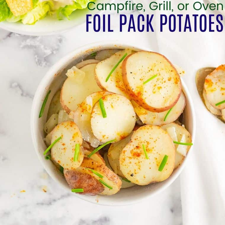 Campfire Potatoes with caption