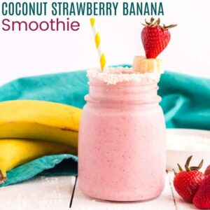 Strawberry Banana Coconut Smoothie with caption
