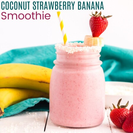 Coconut Strawberry Banana Smoothie square image with title