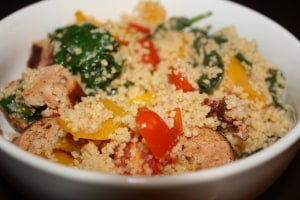 Couscous with Turkey Sausage, Spinach, Peppers, and Cherry Tomatoes