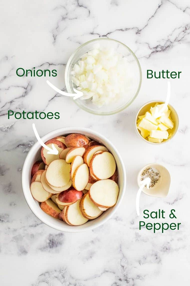 Labeled photo of ingredients to make campfire potatoes