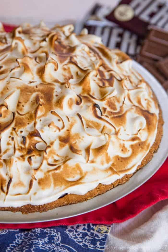 Toasted Marshmallow Meringue on top of a S'Mores Pie