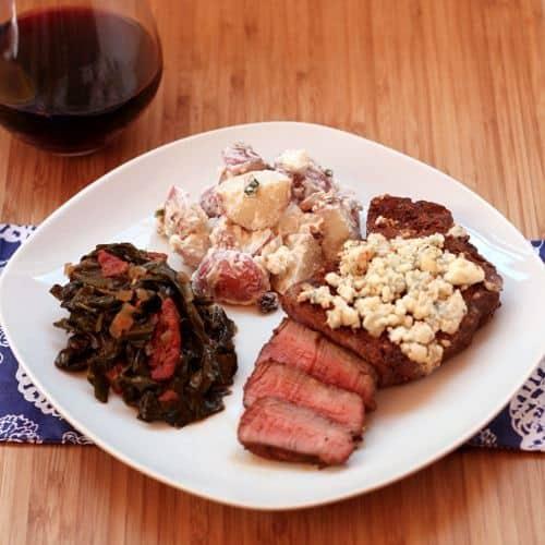 Red, White & Blue Potato Salad | cupcakesandkalechips.com #potatosalad #4thofJuly #GreekYogurt