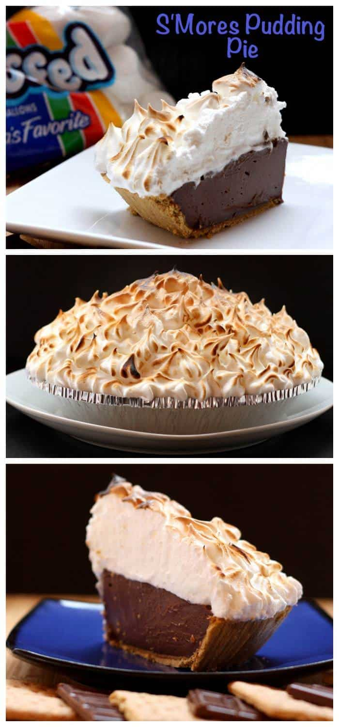 S'Mores Pudding Pie - your favorite summer dessert, no campfire needed! Made with Hershey's Milk Chocolate and marshmallow meringue | cupcakesandkalechips.com