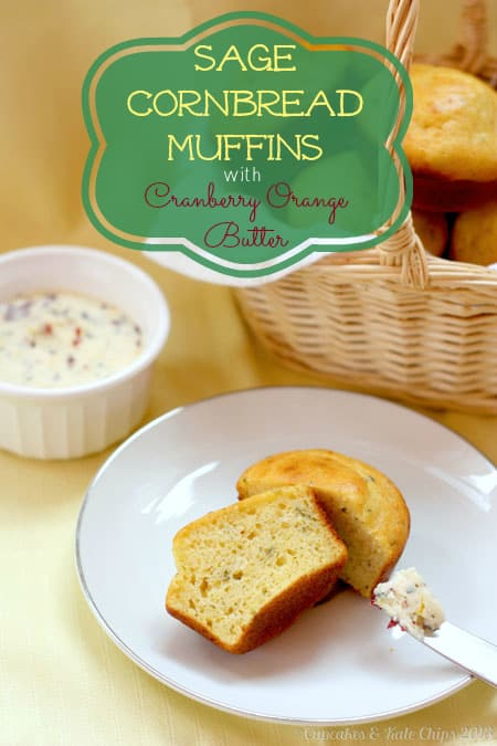 Sage Cornbread Muffins with Cranberry Orange Butter new title