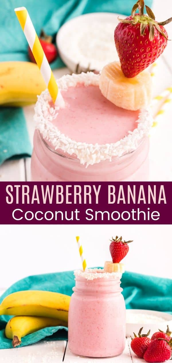 Strawberry Banana Coconut Smoothie - Cupcakes & Kale Chips
