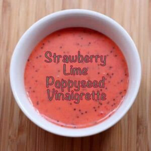 Strawberry lime poppyseed vinaigrette is a delicious, homemade gluten-free salad dressing. Made with fresh strawberries, this easy salad dressing recipe is made in a blender!