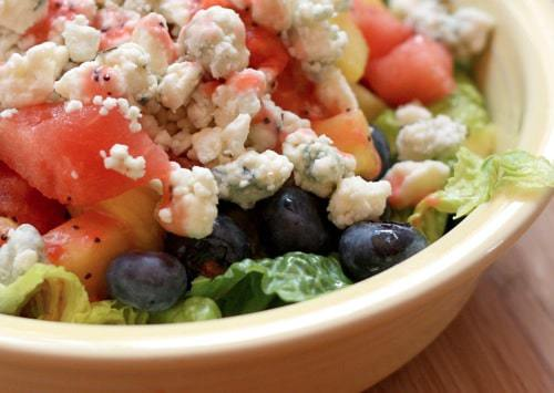 Summer Fruit  Blue Cheese Salad with Strawberry Lime Poppy Seed Vinaigrette wide