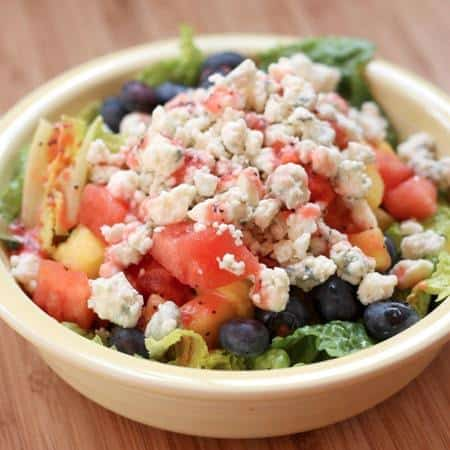 Summer Fruit  Blue Cheese Salad with Strawberry Lime Poppy Seed Vinaigrette