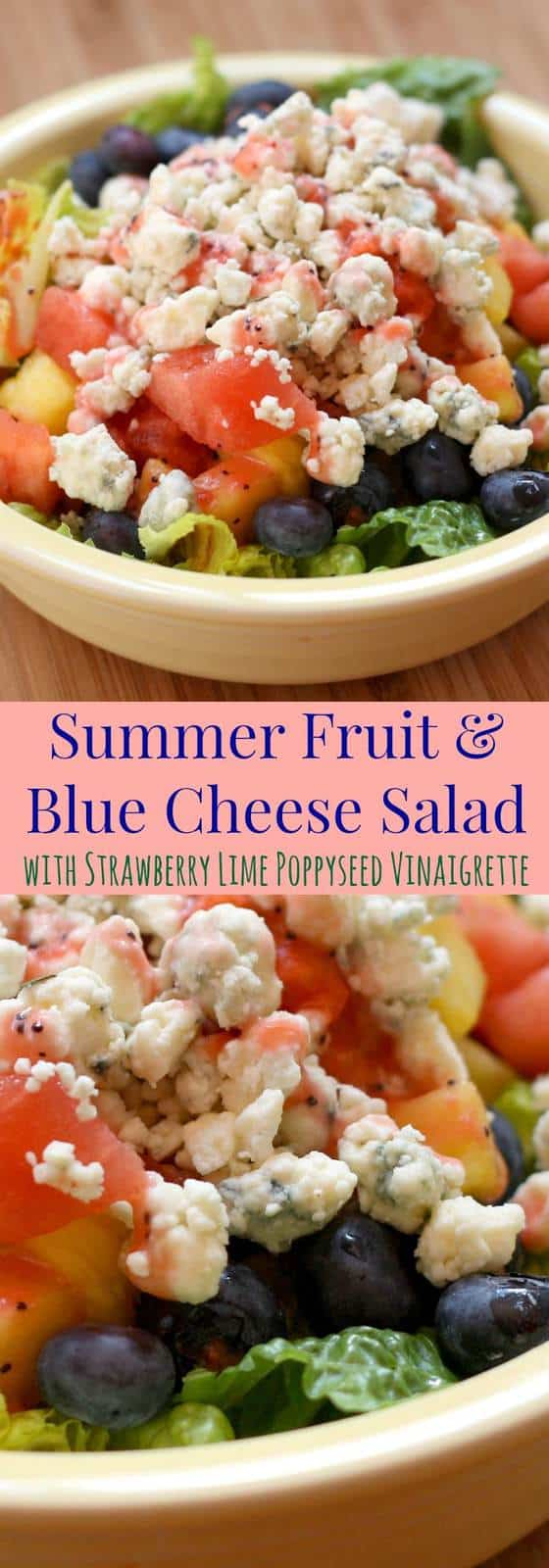 Summer Fruit and Blue Cheese Salad with Strawberry Lime Poppy Seed Vinaigrette - a summer salad with a perfect sweet and savory combo for a light lunch or meatless dinner. | cupcakesandkalechips.com | gluten free, vegetarian