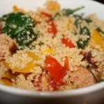 Couscous with Baby Spinach, Yellow Peppers, Cherry Tomatoes and Grilled Turkey Sausage – A Guest Post from Lauren Kelly, Certified Nutritionist