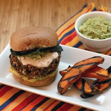 Black Bean Quinoa Burgers with Homemade Guacamole