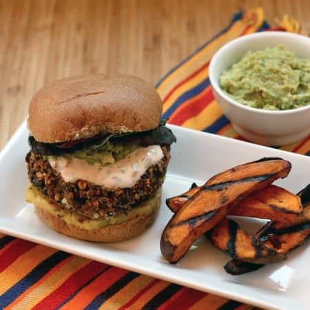 Mexican Black Bean Quinoa Burgers with Homemade Guacamole