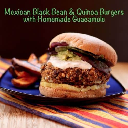 Black bean quinoa burgers with homemade guacamole are a great gluten free Cinco de Mayo food option, or a quick and easy vegetarian dinner any time of the year. | cupcakesandkalechips.com #vegetarian #quinoa