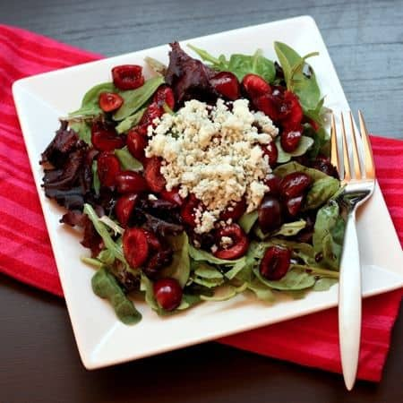 Cherry (or Berry or Peach or...) & Blue (or Feta or Goat or…) Cheese Salad | cupcakesandkalechips.com | A basic formula for a simple #summer #lunch #salad