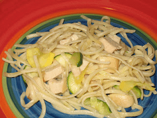 Garlic Chicken Linguine with Summer Squash and Zucchini