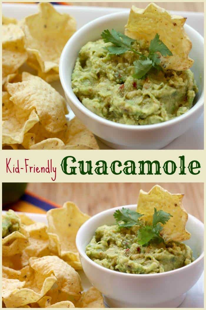 Kid-Friendly Guacamole - everyone's favorite dip for tortilla chips, but with a little less spice and chunky stuff, so the kids will love it too! | cupcakesandkalechips.com