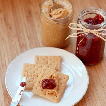 Homemade peanut butter and chia strawberry jam