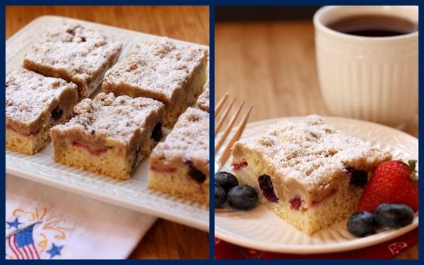 Red White Blueberry Crumb Cake collage 2