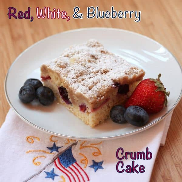 Red White  Blueberry Crumb Cake with caption