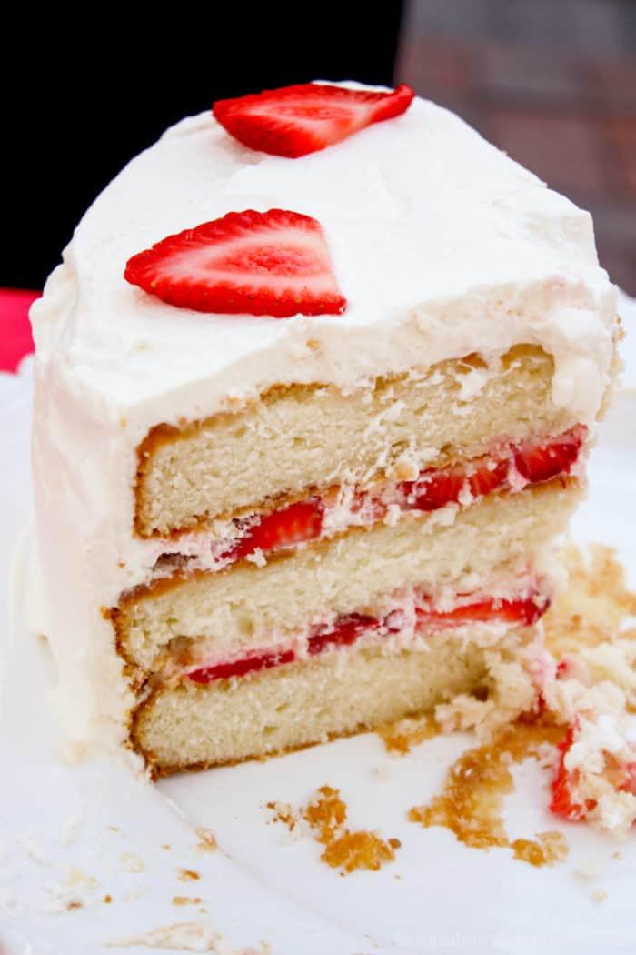 slice of strawberries and cream cake