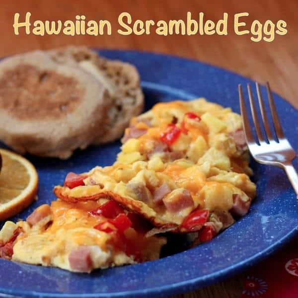 Hawaiian Scrambled Eggs with caption