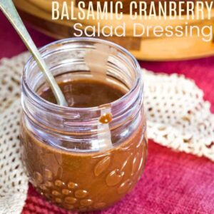 Balsamic Cranberry Salad Dressing Recipe square featured image with title