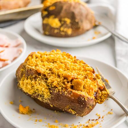 Cranberry BBQ Turkey Stuffed Sweet Potato