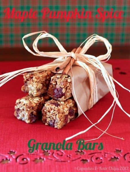 Maple Pumpkin Spice Granola Bars | cupcakesandkalechips.com | #pumpkin #granolabars #glutenfree #vegan #snack #gf