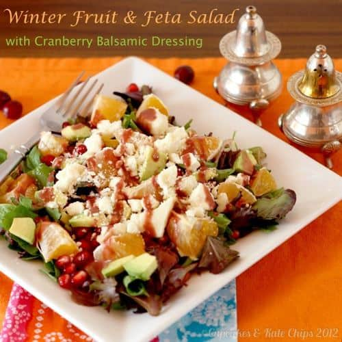 Winter fruit is the star in this winter fruit salad! Topped with feta cheese and a tangy cranberry balsamic dressing, this is a delicious salad recipe!