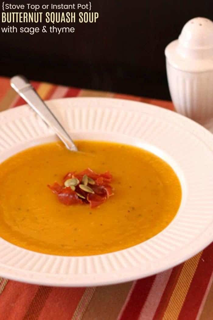 Stove Top or Instant Pot Butternut Squash Soup with Sage and Thyme Recipe Image with title