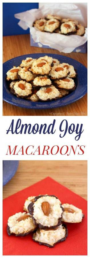 Almond Joy Macaroons - only four ingredients to make this easy cookie recipe that tastes like an Almond Joy candy bar. Plus they are gluten free! | cupcakesandkalechips.com