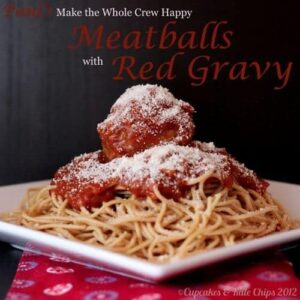 Sausage meatballs with red gravy is a crowd pleasing, gluten free, comfort food dinner that the whole gang will love! | Recipe on CupcakesAndKaleChips.com