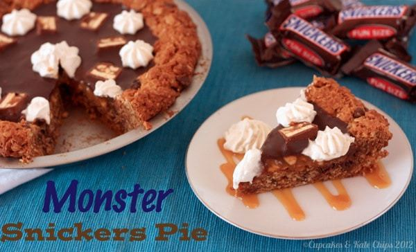 Monster Snickers Pie | cupcakesandkalechips.com | #monstercookies #chocolate #caramel