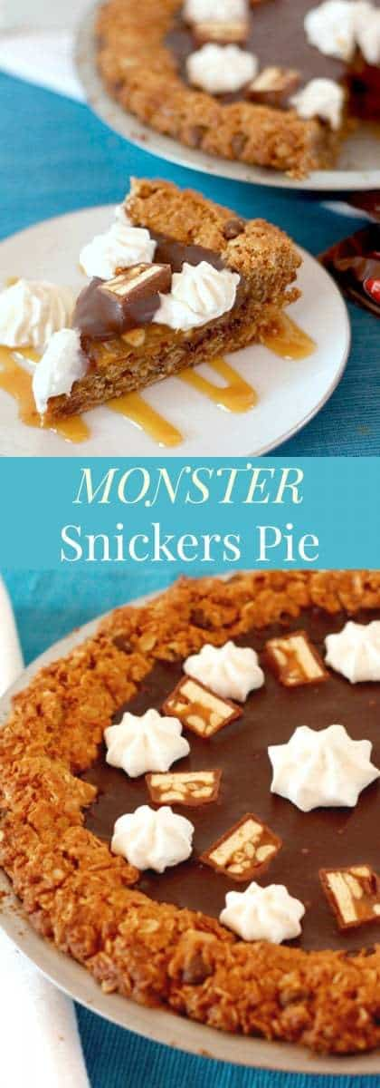 Monster Snickers Pie - a giant monster cookie crust and layers of caramel, peanuts, and chocolate ganache, this is the ultimate dessert recipe! | cupcakesandkalechips.com | gluten free