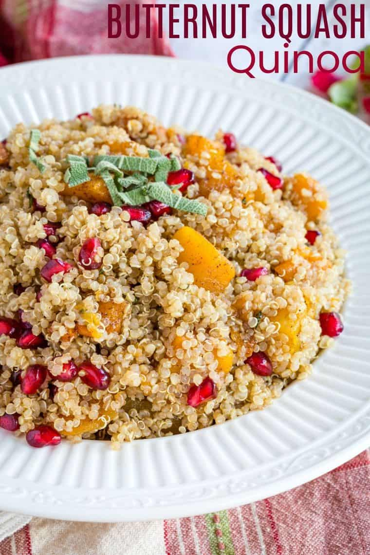 Serving bowl of quinoa with butternut squash and pomegranate