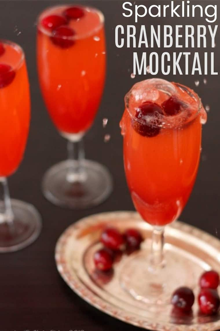 Sparkling Cranberry Mocktail Recipe image with title