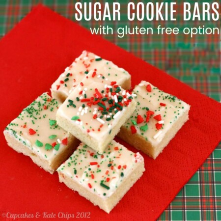 Sugar Cookie Bars with gluten free option stacked on a red napkin