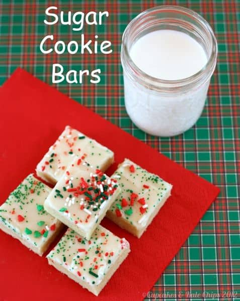 Sugar Cookie Bars | cupcakesandkalechips.com | #cookies #barcookies #christmascookies