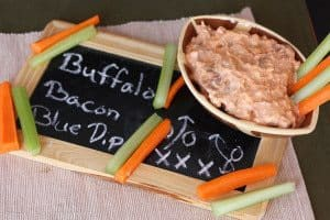 Low Carb Buffalo Bacon Blue Cheese Dip on a chalkboard with recipe name