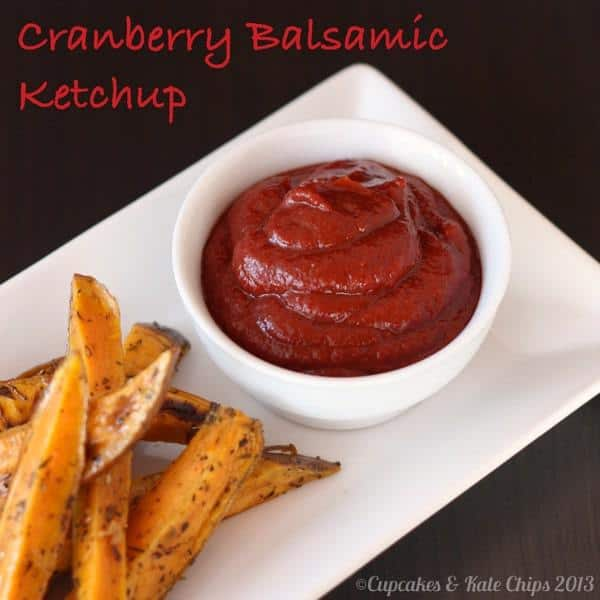 Cranberry balsamic ketchup is a homemade condiment. Homemade ketchup is healthier and delicious! Jazzed up with a kick of cranberry flavor. | cupcakesandkalechips.com