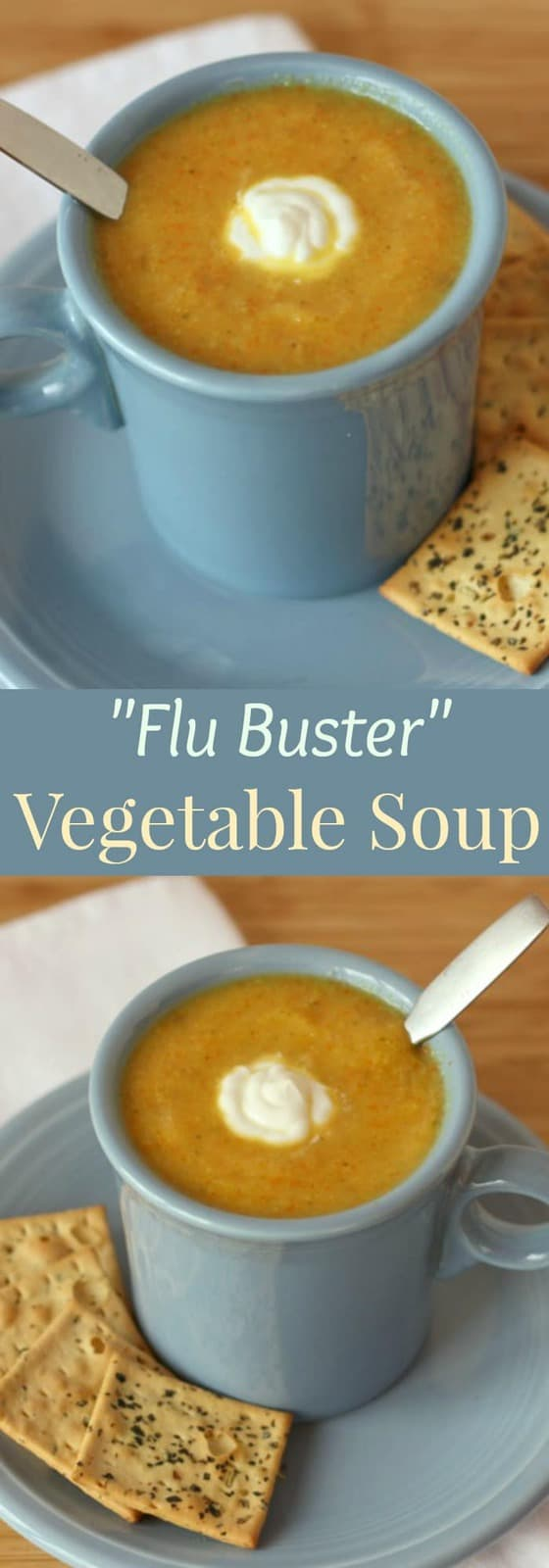 """Flu Buster"" Vegetable Soup - a delicious, creamy vegetable soup recipe without any cream, packed with lots of antiviral goodness. Gluten free and vegan. 