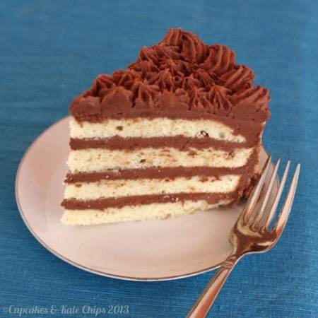 Gluten Free Golden Fudge Cake - A gluten free layer cake with thick, fudgy frosting. The perfect gluten free birthday cake recipe! | cupcakesandkalechips.com