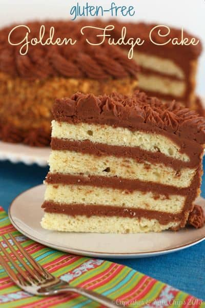 Gluten Free Golden Fudge Cake - The perfect gluten free birthday cake recipe! A classic layer cake with yellow butter cake and fudgy chocolate buttercream frosting.