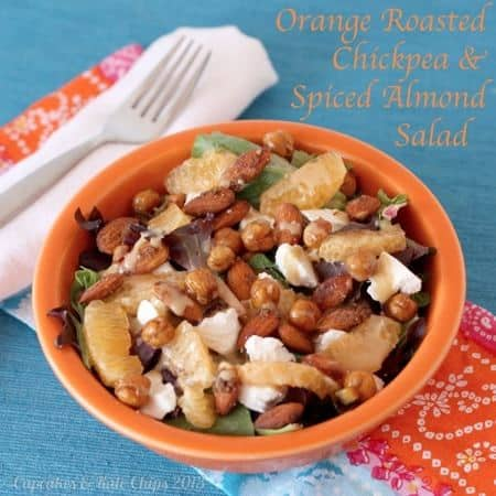 Orange roasted chickpeas, creamy goat cheese, and spiced almonds are a delicious combination in this quick and easy-to-make dinner salad. Topped with sherry citrus vinaigrette | @cupcakekalechips