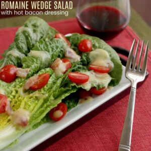 Romaine Wedge Salad with Hot Bacon Dressing square featured image with title text