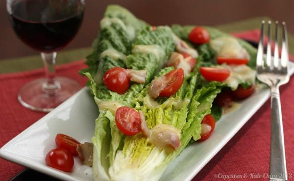 Romaine Wedge Salad with Hot Maple Bacon Dressing 4 wm